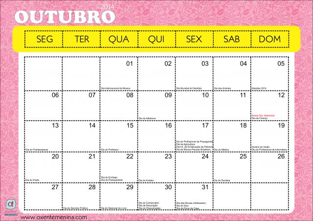 calendario outubro